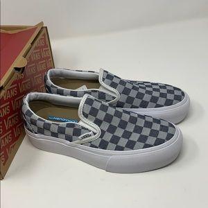 VANS slip on checker denim Size 3.5 5